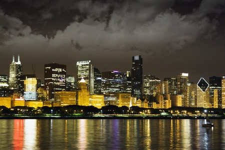 Night View at Downtown Chicago and lake Michigan  photo