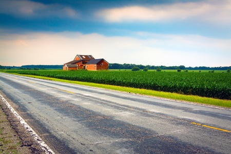 row of houses: Country Road Stock Photo