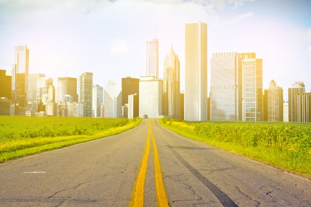 American Country Road with City on the Horizon photo