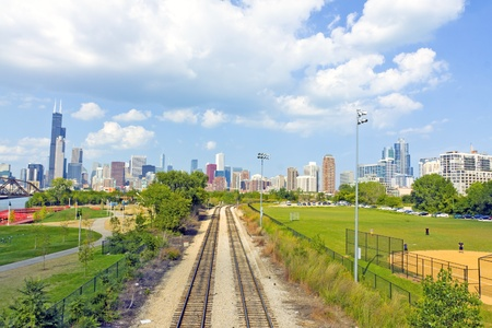 Rail Road with Chicago in Background photo