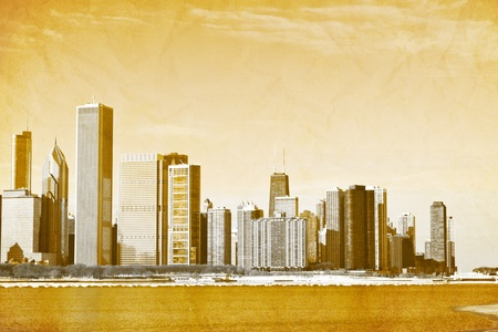 Vintage Design: Old Picture of Downtown Chicago
