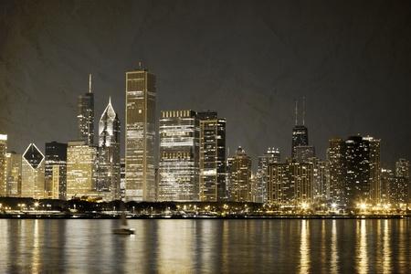 emigranti: Vintage Design: vecchia foto del centro di Chicago Editoriali
