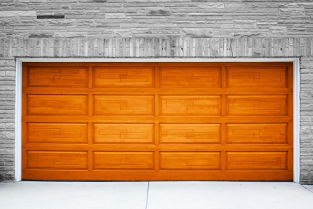 Brown Garage Door Stock Photo