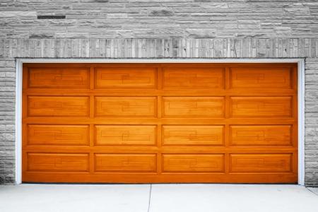 garage: Brown Garage Door Stock Photo