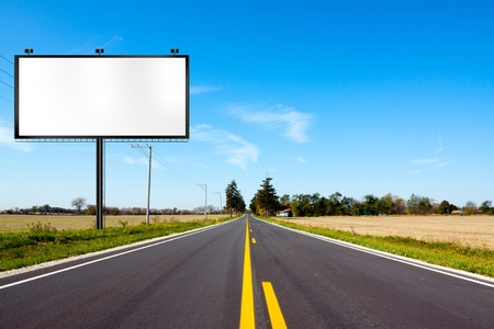 the road surface: Billboard on Country Road  Stock Photo