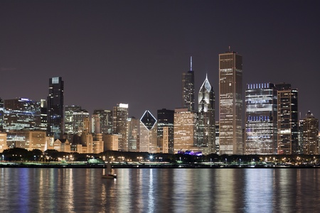 Chicago Downtown at night  Stockfoto