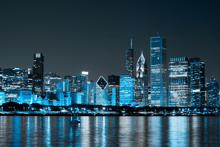 city skyline night: Finance District at Night Stock Photo