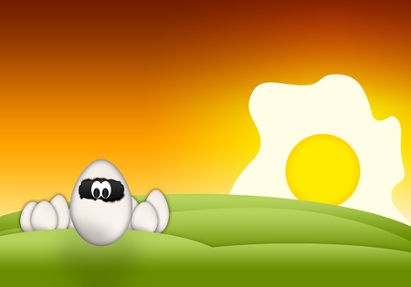 Cartoon Easter funny Eggs on abstract background