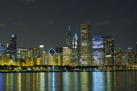 Night View at Downtown Chicago and lake Michigan  Stock Photo