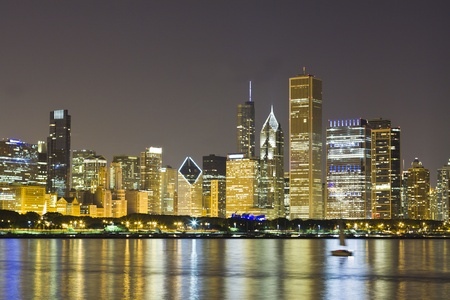 Night View at Downtown Chicago and lake Michigan  Stock Photo - 11955434
