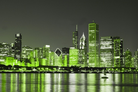 Chicago op St. Patrick's Day Stockfoto