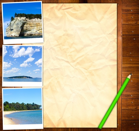 Empty Paper Template with picture from Vacation photo