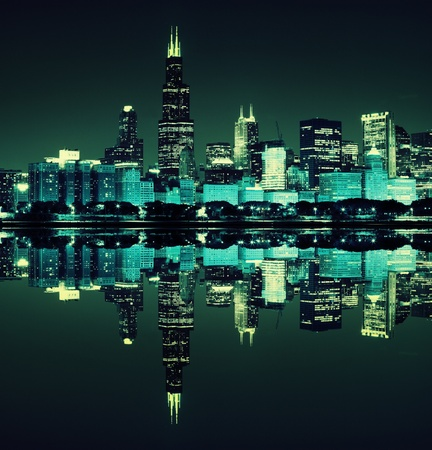 financial district  night view Chicago Stock Photo - 12830614
