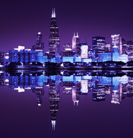 financial district  night view Chicago   Imagens