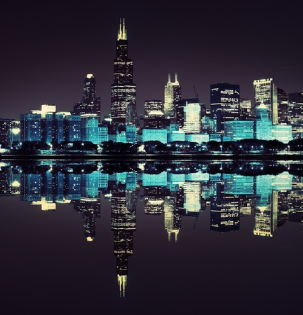lake district: financial district  night view Chicago   Stock Photo