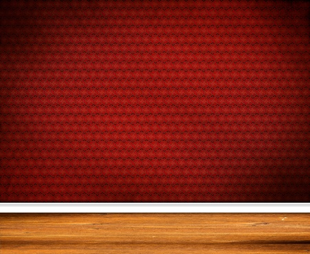 Interior Design - Retro Wallpaper with wooden baseboard Stock Photo - 12829635