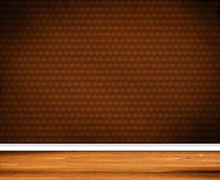 Interior Design - Retro Wallpaper with wooden baseboard Zdjęcie Seryjne