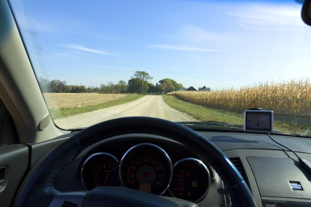 American Country Road - inside the car photo