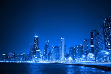 commercial real estate: financial district  night view Chicago   Stock Photo