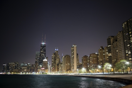 Chicago by night photo