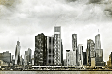 Vintage Design: Old Picture of Downtown Chicago  photo
