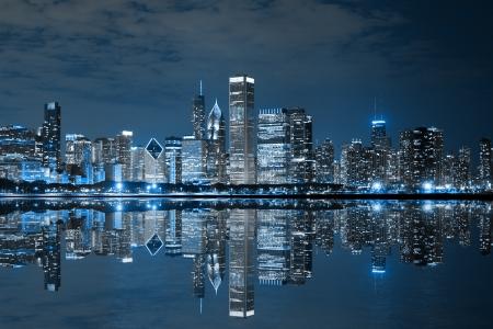 Chicago bei Nacht Standard-Bild