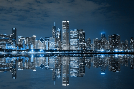 Chicago Downtown at Night photo