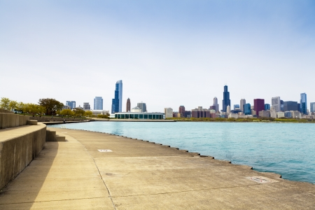 bicycle path with downtown chicago in background  photo