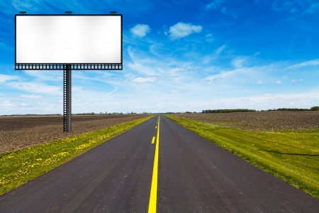 blank road sign: Billboard on Country Road  Stock Photo