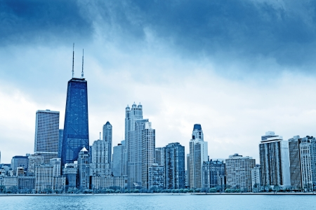 commercial real estate: Dark Clouds on Finance District in Chicago Stock Photo