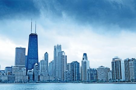 Dark Clouds on Finance District in Chicago Archivio Fotografico