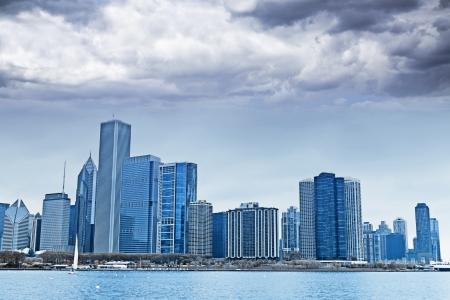 Dark Clouds on Finance District in Chicago photo
