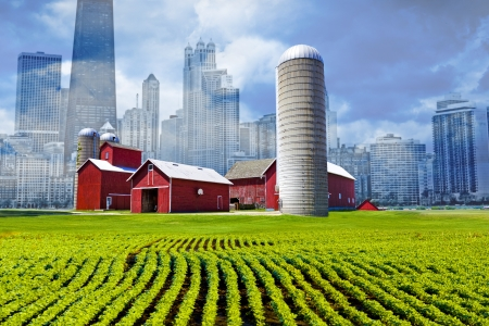 American Country with Big City in Background  photo