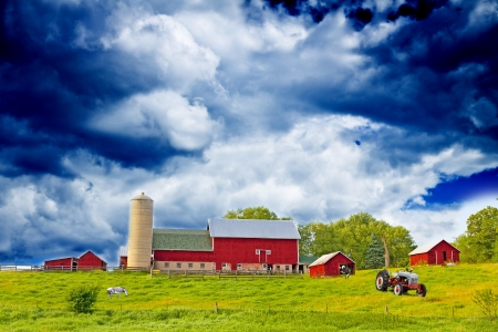 iowa agriculture: American Country Farm With Blue Sky