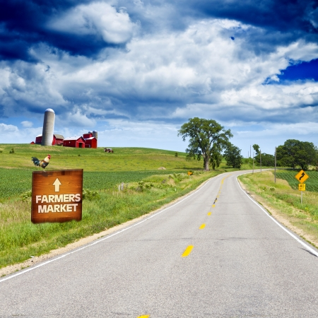 rural scenes: American Country Road With Blue Sky