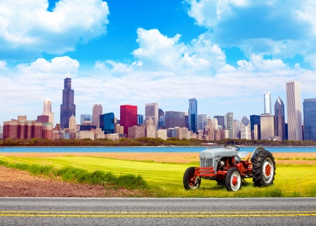 American Country with Blurred Big City in Background  photo