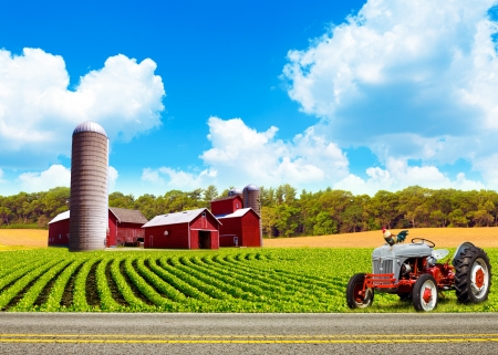 Country Farm Landscape With Tractor photo