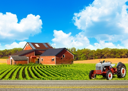 Country Road With Farm And Tractor  Stock Photo - 14364625
