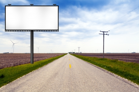 road surface: Billboard on Country Road  Stock Photo