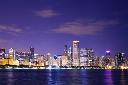 chicago skyline: Chicago at Night  Stock Photo