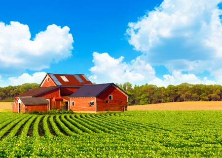 factory farm: Traditional Vintage Red Farm Stock Photo