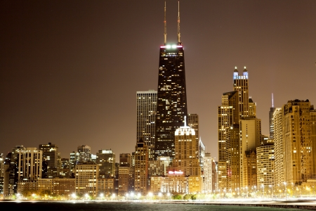 Chicago Downtown in the night photo