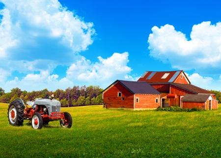 American Traditional Country Farm with Blue Cloudy Sky Stock Photo - 14551386
