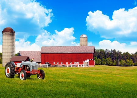 American Traditional Country Farm with Blue Cloudy Sky