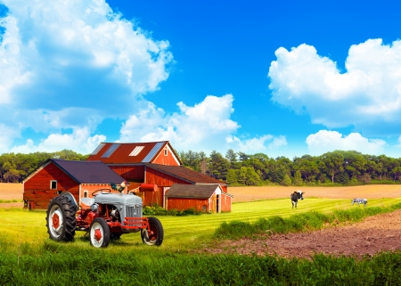 American Traditional Country Farm with Blue Cloudy Sky photo