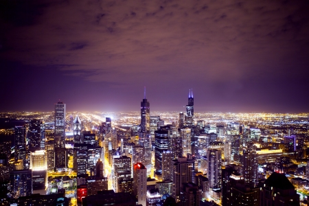 twilight: Aerial View of City Downtown