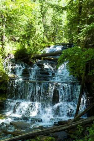 upper peninsula: Waterfall in green forest, Michigan USA