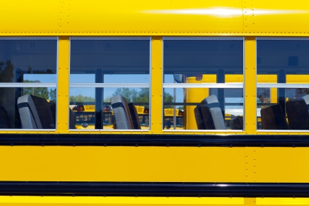 Yellow School Bus With Blue Sky photo