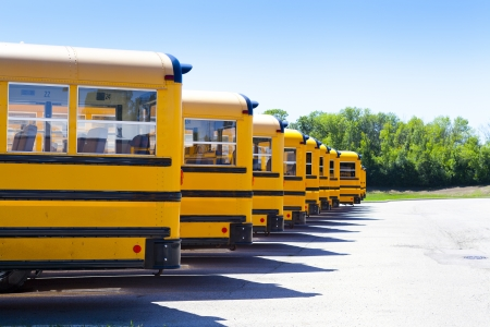 bus background: Yellow School Bus With Blue Sky