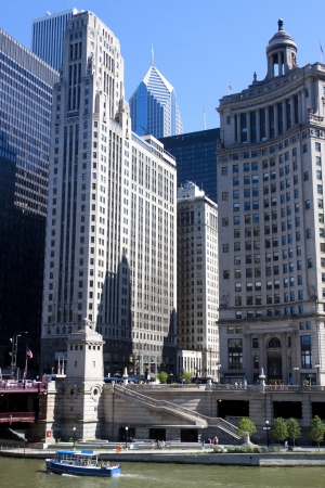 View of skyscrapers and the river in downtown Chicago